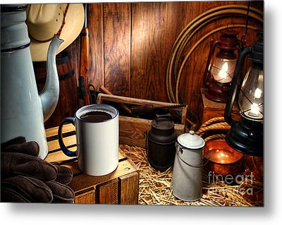 Coffee Break At The Chuck Wagon Metal Print by Olivier Le Queinec
