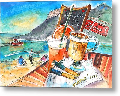 Coffee Break In Stavros In Crete Metal Print by Miki De Goodaboom