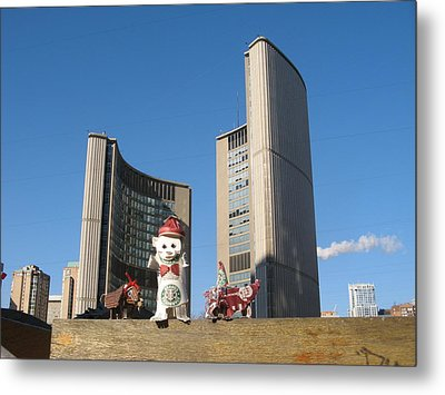 coffee cup animals at City Hall Metal Print by Alfred Ng