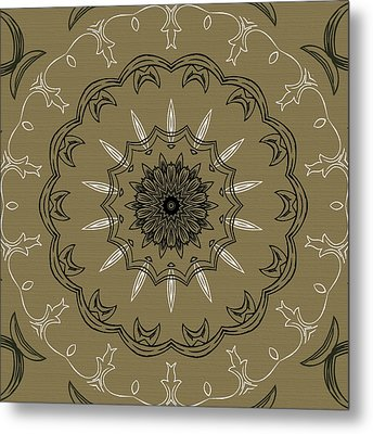 Coffee Flowers 3 Olive Ornate Medallion Metal Print by Angelina Vick
