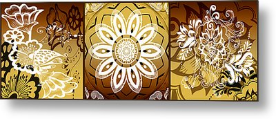 Coffee Flowers Calypso Triptych 2 Horizontal   Metal Print by Angelina Vick