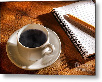 Coffee For The Writer Metal Print by Olivier Le Queinec