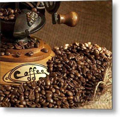 Coffee Grinder With Beans Metal Print by Gunter Nezhoda