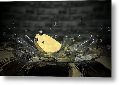 Coin Hitting Water Splash Metal Print by Allan Swart