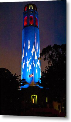 Coit Tower On The Anniversary Of 9/11 Metal Print by Patricia Sanders