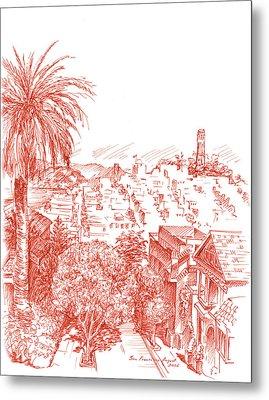 Coit Tower View From Russian Hill San Francisco Metal Print by Irina Sztukowski
