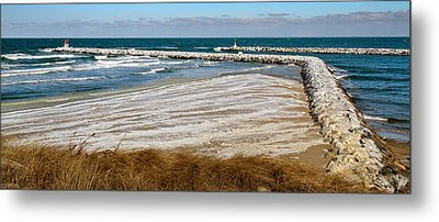 Cold And Frosty Sesuit Harbor Entrance Metal Print by Carl Jacobs
