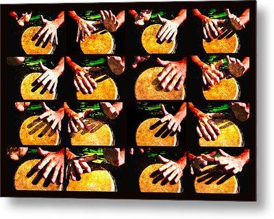 Collage Drum Bang Boom Yellow Metal Print by Alexander Senin