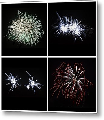 Collection Of Bright Colorful Firework Burst Explosions On Black Metal Print by Matthew Gibson
