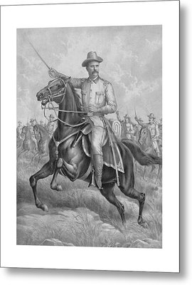 Colonel Roosevelt Leading Troops Metal Print by War Is Hell Store
