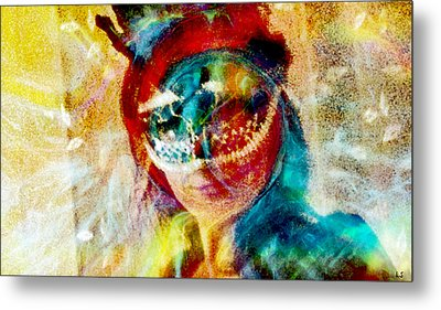 Color Mask Metal Print by Linda Sannuti