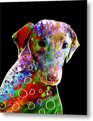 Color Splash Abstract Dog Art  Metal Print by Ann Powell
