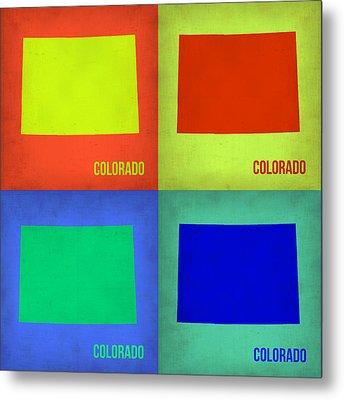Colorado Pop Art Map 2 Metal Print by Naxart Studio