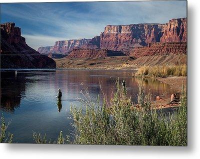 Colorado River Fisherman Metal Print by Michael J Bauer