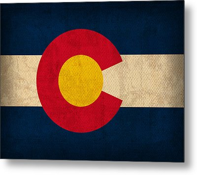 Colorado State Flag Art On Worn Canvas Metal Print by Design Turnpike