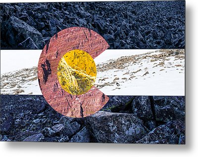 Colorado State Flag With Mountain Textures Metal Print by Aaron Spong