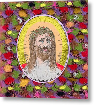 Colored Background Jesus Metal Print by Donna Munro