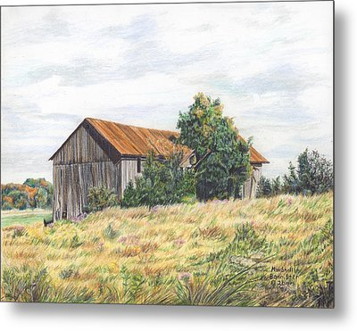 Colored Pencil Barn Metal Print by Marshall Bannister