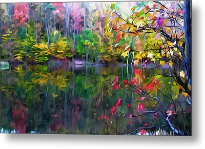 Colorful Autumn Leaves Reflecting In The Water Metal Print by Lanjee Chee