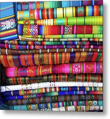 Colorful Blankets At Indigenous Market Metal Print by Miva Stock