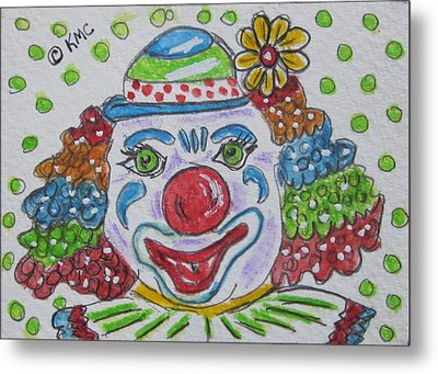 Colorful Clown Metal Print by Kathy Marrs Chandler