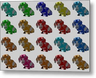 Colorful Dachshund Pop Art Poster Metal Print by Dan Sproul