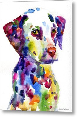 Colorful Dalmatian Puppy Dog Portrait Art Metal Print by Svetlana Novikova