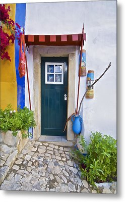 Colorful Door Of Obidos Metal Print by David Letts