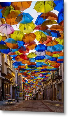 Colorful Floating Umbrellas Metal Print by Marco Oliveira