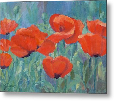 Colorful Flowers Red Poppies Beautiful Floral Art Metal Print by K Joann Russell