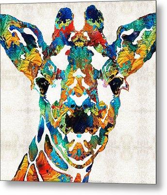 Colorful Giraffe Art - Curious - By Sharon Cummings Metal Print by Sharon Cummings