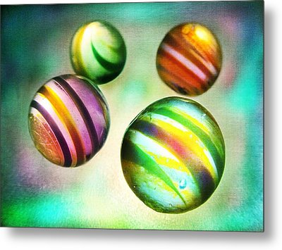Colorful Glass Marbles Metal Print by Marianna Mills