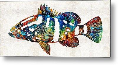 Colorful Grouper 2 Art Fish By Sharon Cummings Metal Print by Sharon Cummings