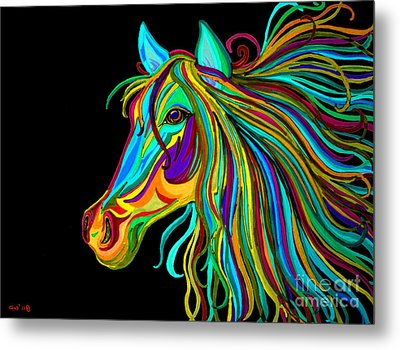 Colorful Horse Head 2 Metal Print by Nick Gustafson