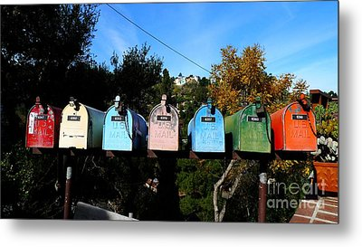 Colorful Mailboxes Metal Print by Nina Prommer