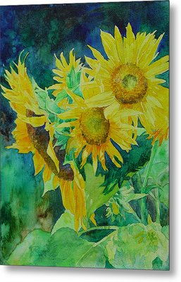 Colorful Original Sunflowers Flower Garden Art Artist K. Joann Russell Metal Print by K Joann Russell