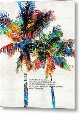 Colorful Palm Trees - Returning Home - By Sharon Cummings Metal Print by Sharon Cummings