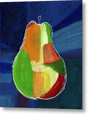 Colorful Pear- Abstract Painting Metal Print by Linda Woods