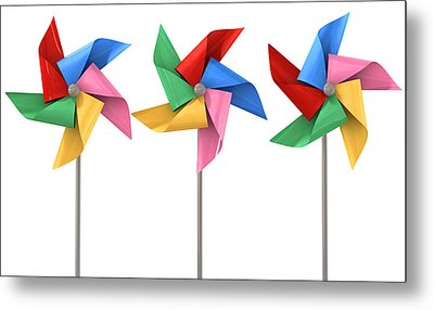 Colorful Pinwheels Isolated Metal Print by Allan Swart