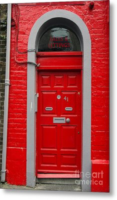 Colorful Red Door On Red Wall Metal Print by RicardMN Photography