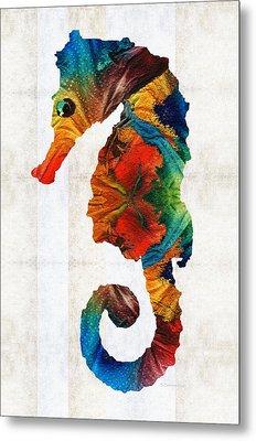 Colorful Seahorse Art By Sharon Cummings Metal Print by Sharon Cummings