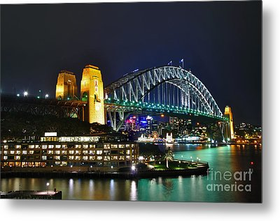 Colorful Sydney Harbour Bridge By Night Metal Print by Kaye Menner