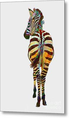 Colorful Zebra Metal Print by Teresa Zieba