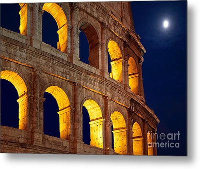 Colosseum And Moon Metal Print by Inge Johnsson