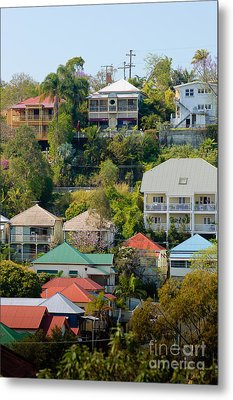Colourful Queenslander Houses On A Steep Hillside  Metal Print by David Hill