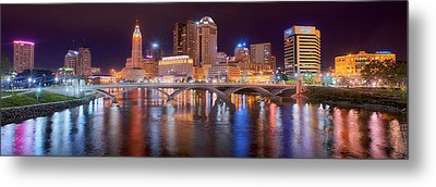 Columbus Skyline At Night Color Panorama Ohio Metal Print by Jon Holiday