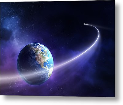Comet Moving Past Planet Earth Metal Print by Johan Swanepoel