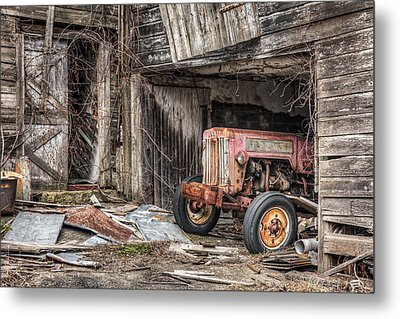 Comfortable Chaos - Old Tractor At Rest - Agricultural Machinary - Old Barn Metal Print by Gary Heller