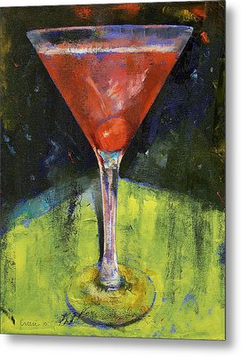 Comfortable Cherry Martini Metal Print by Michael Creese