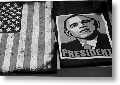 Commercialization Of The President Of The United States In Balck And White Metal Print by Rob Hans
